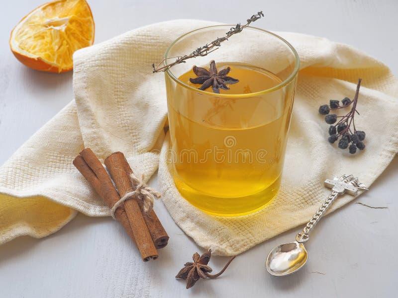Orange te med timjankvisten, den torra rönnbäret och anisstjärnan Värmedrink arkivbild