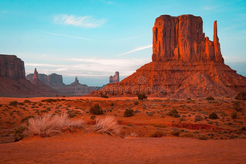 Orange and teal sunset view at Monument Valley, Arizona, USA royalty free stock photo