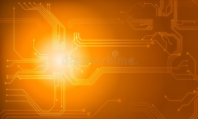 Orange technology circuit line abstract background. Orange technology circuit abstract background stock illustration