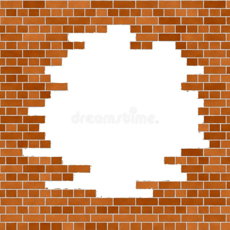 Orange tegelstenväggram stock illustrationer