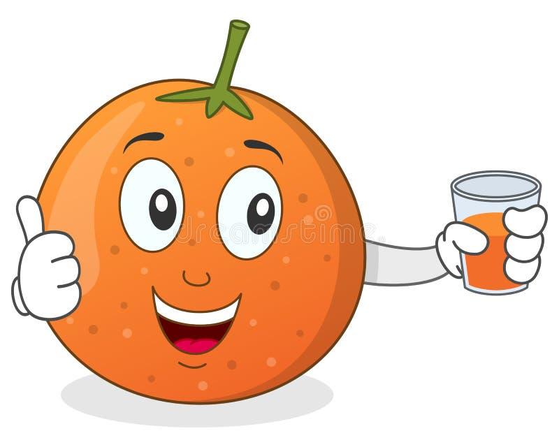 Orange tenant un jus serré frais illustration de vecteur