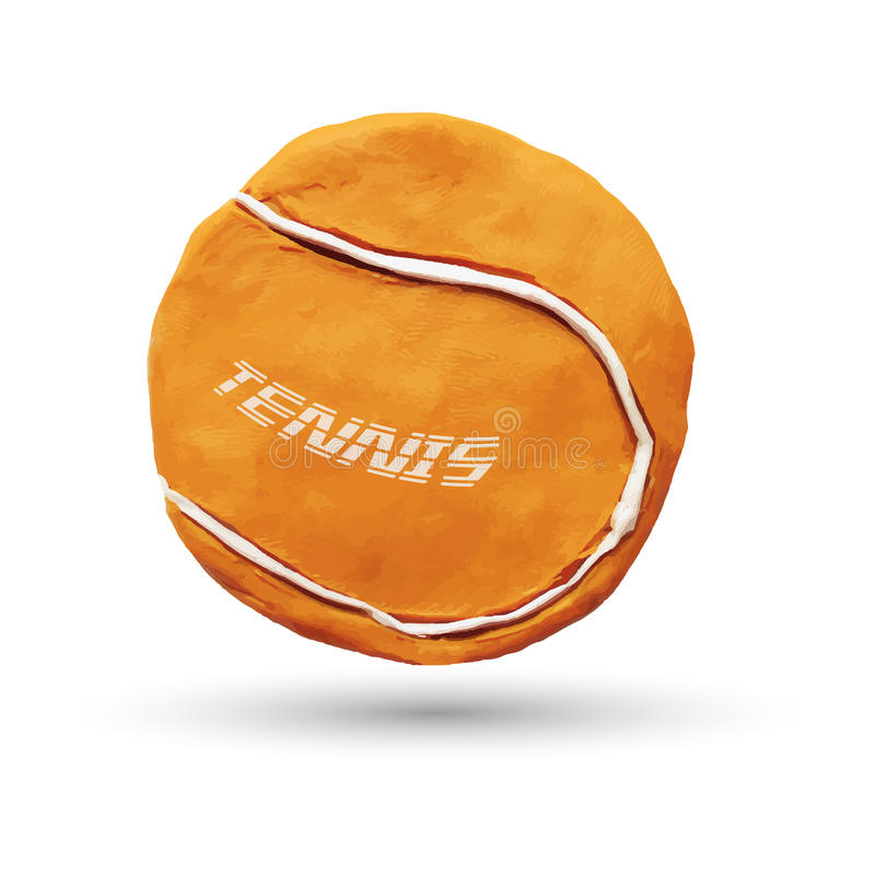 Orange tennis ball. Realistic illustration of orange tennis ball, isolated on white background. Vector illustration. Plasticine modeling royalty free illustration