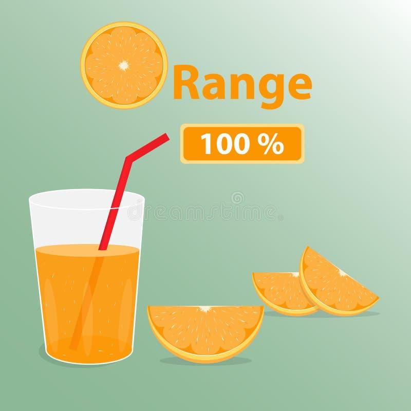 Orange text med fruktsaftexponeringsglas och stycket av apelsinen stock illustrationer