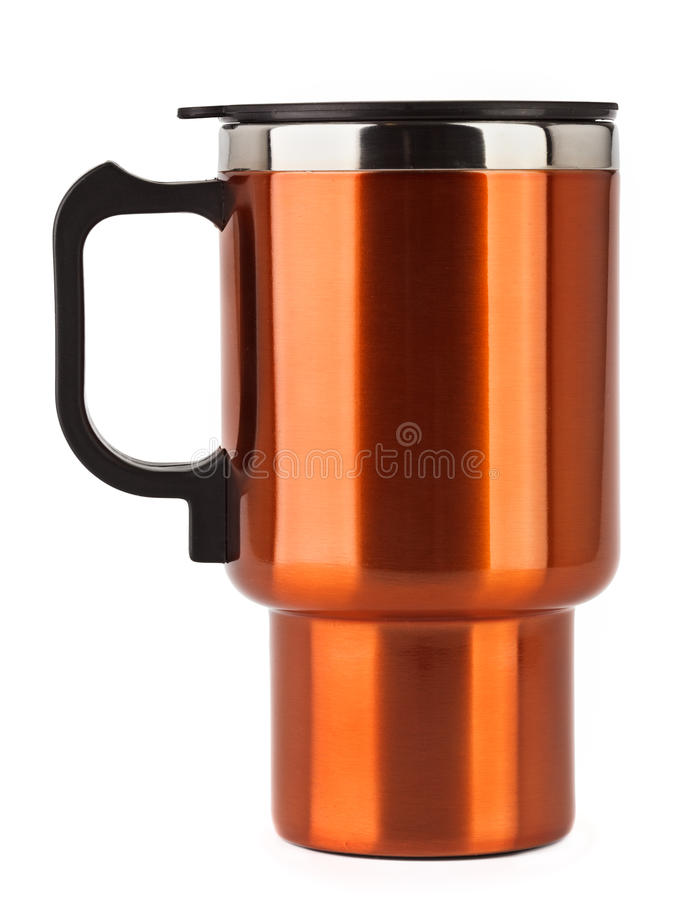 Download Orange Thermos Mug With Black Handle Stock Photo - Image of drink, black: 18124348