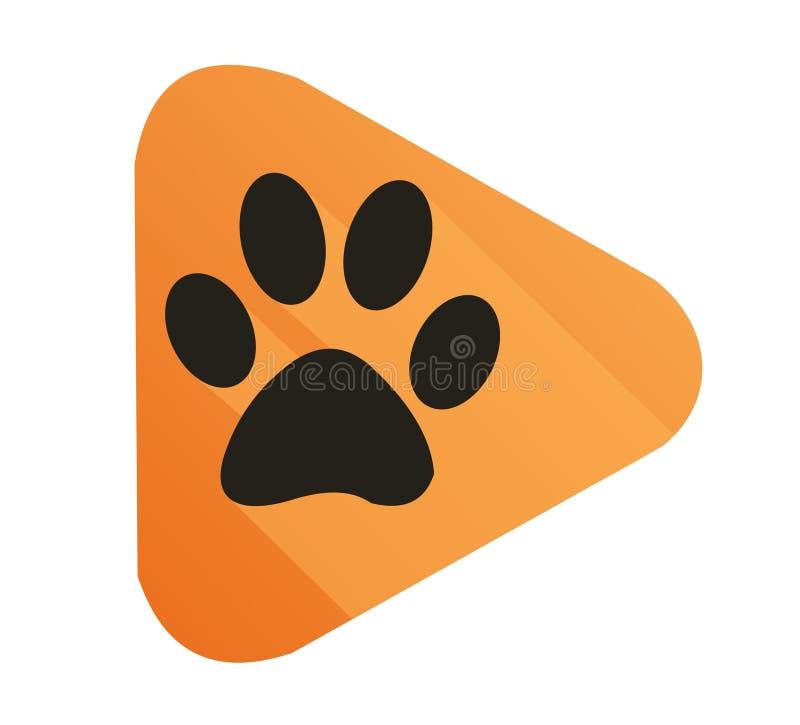 Orange tiger paw icon vector illustration. Orange tiger paw flat design icon illustration vector stock illustration