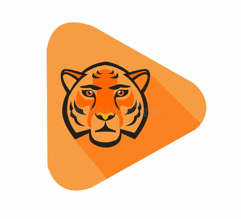 Orange tiger flat icon vector illustration. Orange tiger triangle flat design icon illustration vector royalty free illustration