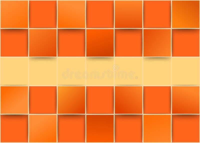 Orange tiles threedimensional - illusion stock illustration