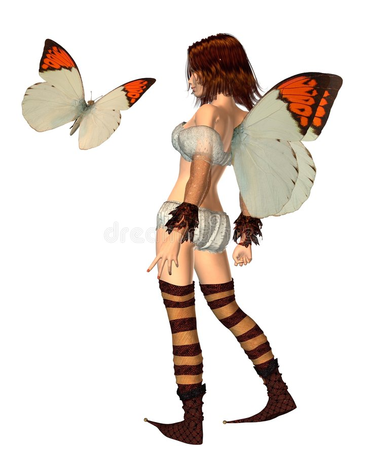 Orange Tip Butterfly Fairy - 1 royalty free stock photo