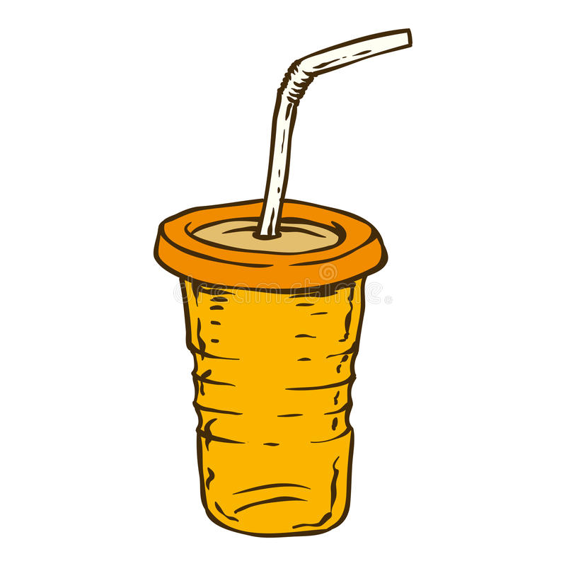 Orange To Go Cup. To Go Cups with White Tubule. on a White Background stock illustration