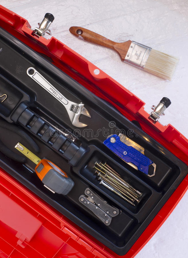Download Orange Tool Box With Crescent Tape And Brush Stock Photo - Image: 28689738