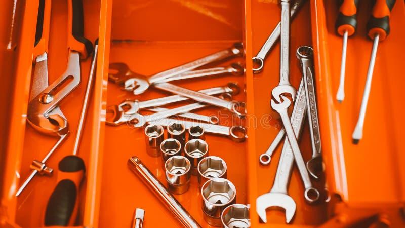 Orange toolbox wrench kit hand tools diy hardware stock photography