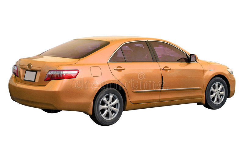Orange Toyota Camry 2008. 2008 model orange Toyota Camry car isolated on white royalty free stock photography