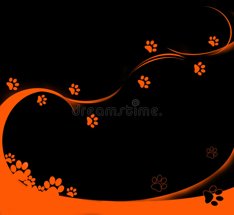 Download Orange tracks stock illustration. Image of kitten, shape - 3182260