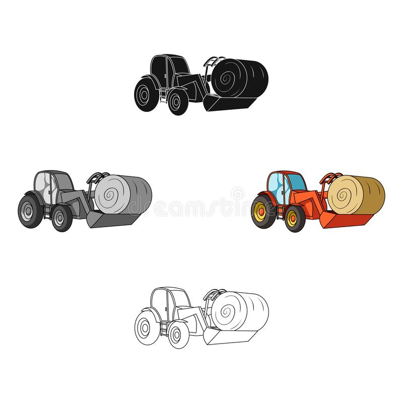 Orange tractor with a ladle transporting hay bale. Agricultural vehicles.Agricultural Machinery single icon in cartoon. Black style vector symbol stock web vector illustration