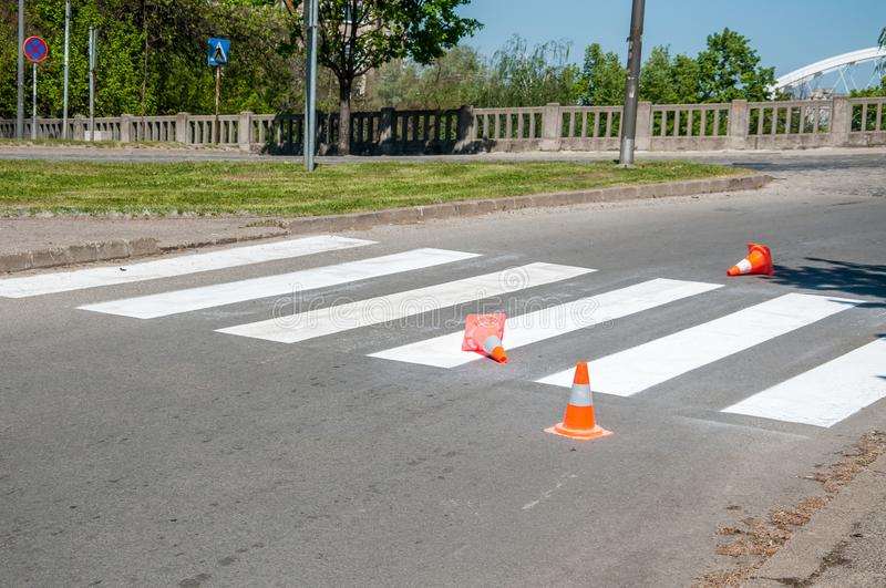 Orange traffic safety cones barriers on the street protect fresh white paint on the pedestrian crosswalk stock photos