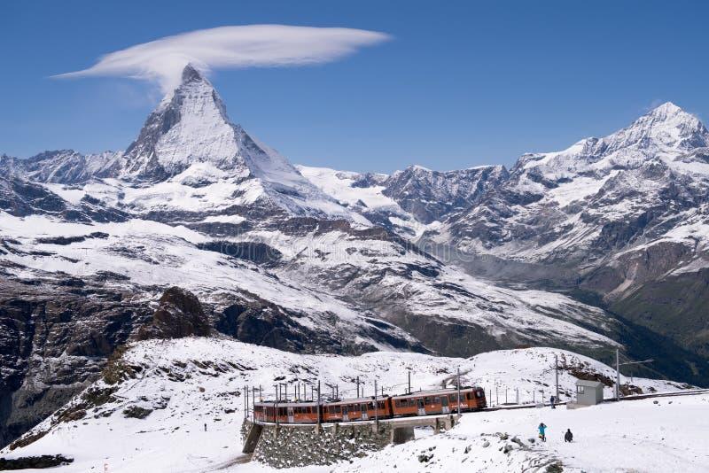 Orange train at Zermatt, Switzerland royalty free stock images
