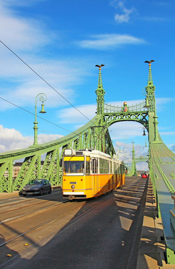 Download Orange Tram On The Liberty Bridge In Budapest, Hungary Stock Image - Image of famous, chain: 29299959