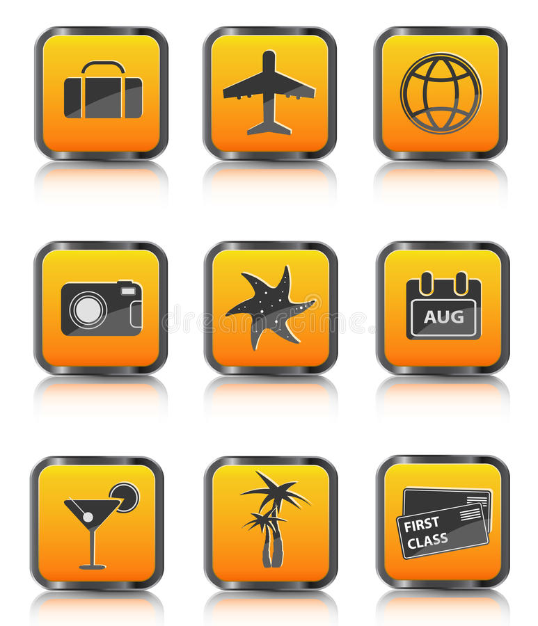 Download Orange Travel Icon Luggage Airplane Palm Coctail Stock Vector - Image: 15526605