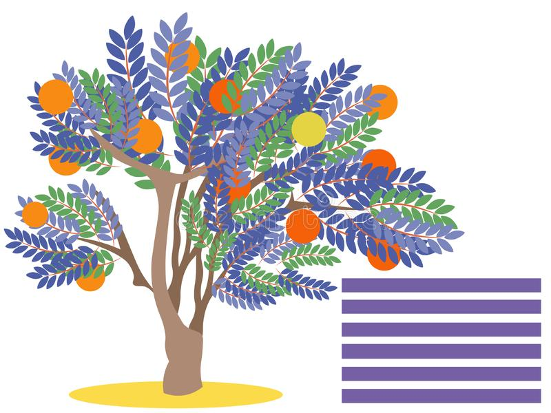 Orange tree with fruit. Blank for banner. In minimalist style. Flat isometric raster. Illustration royalty free stock image