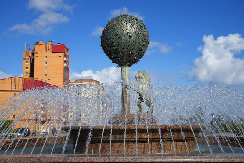 Orange tree and lion. The fountain in the town of Lomonosov. Russia stock photo