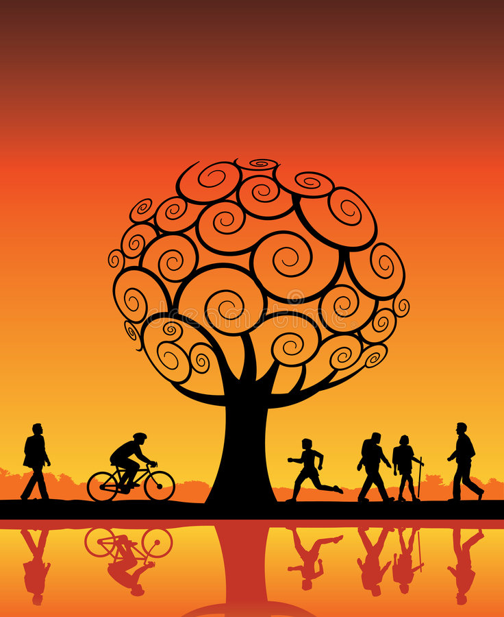 Download Orange tree and people stock vector. Image of strolling - 6068080