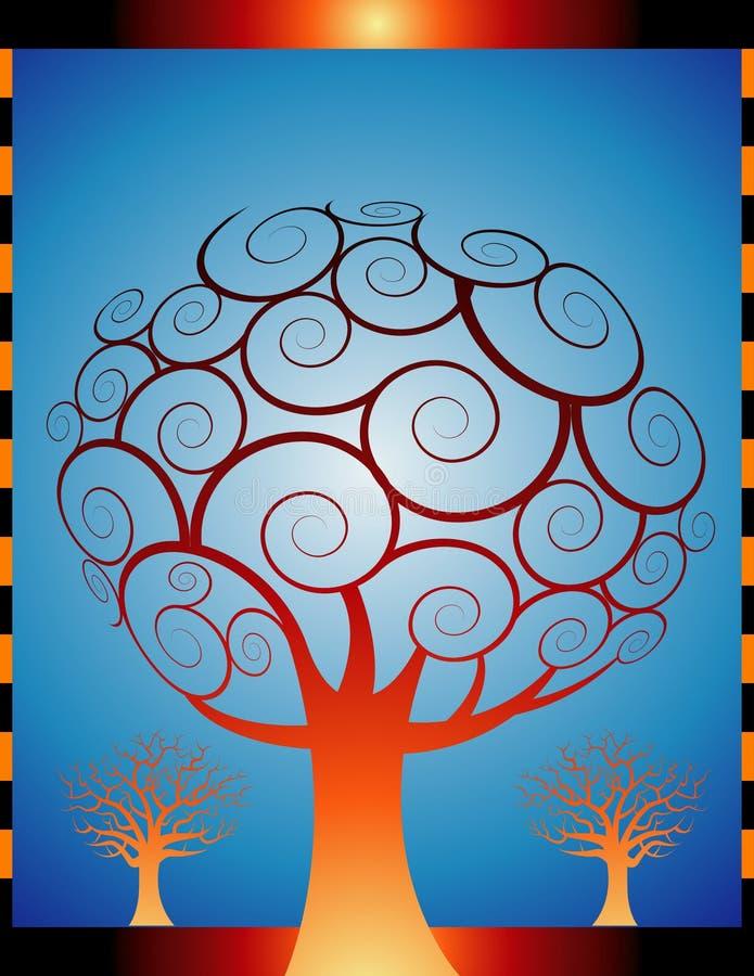 orange trees för höst stock illustrationer