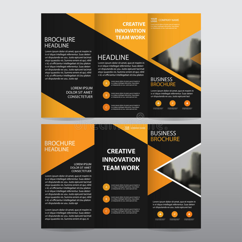 Orange triangle business trifold Leaflet Brochure Flyer report template vector minimal flat design set, abstract three fold. Presentation layout templates a4 vector illustration