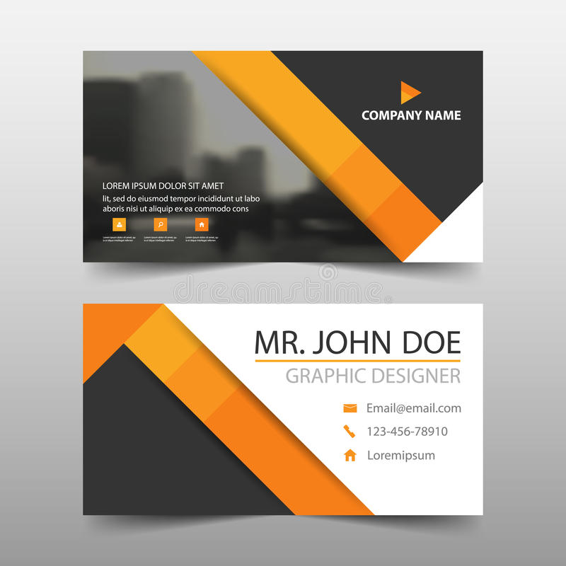 Download Orange Triangle Corporate Business Card Name Template Horizontal Simple Clean Layout Design