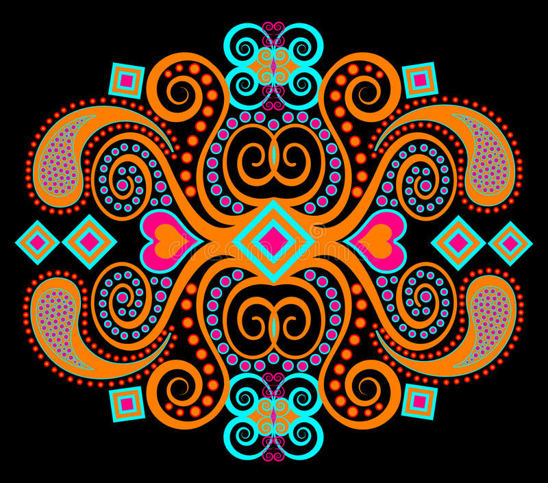 Orange tribal ethnic pattern vector illustration