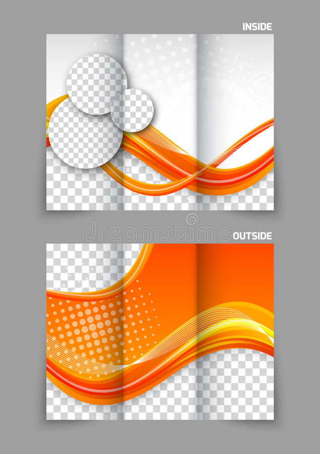 Orange trifold broschyr vektor illustrationer