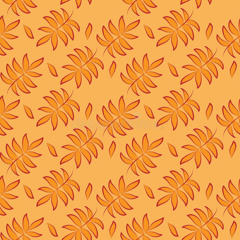 Orange Tropical Leaves Seamless Pattern. Perfect Botanical Wallpaper vector illustration