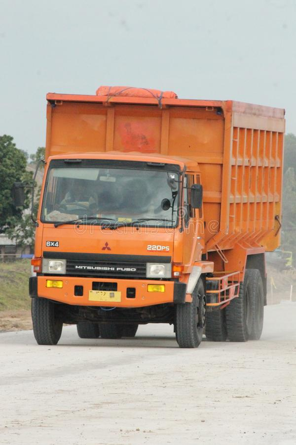 Orange Truck Fuso 220 Ps. In Malang Indonesia stock image