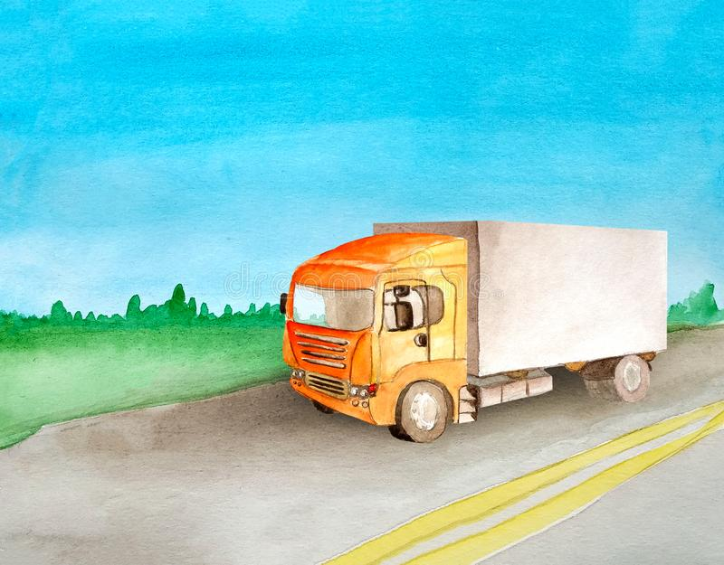 A orange truck with a grey body carries cargo on an asphalt road past the meadow and woods on the horizon in summer and a clear royalty free illustration