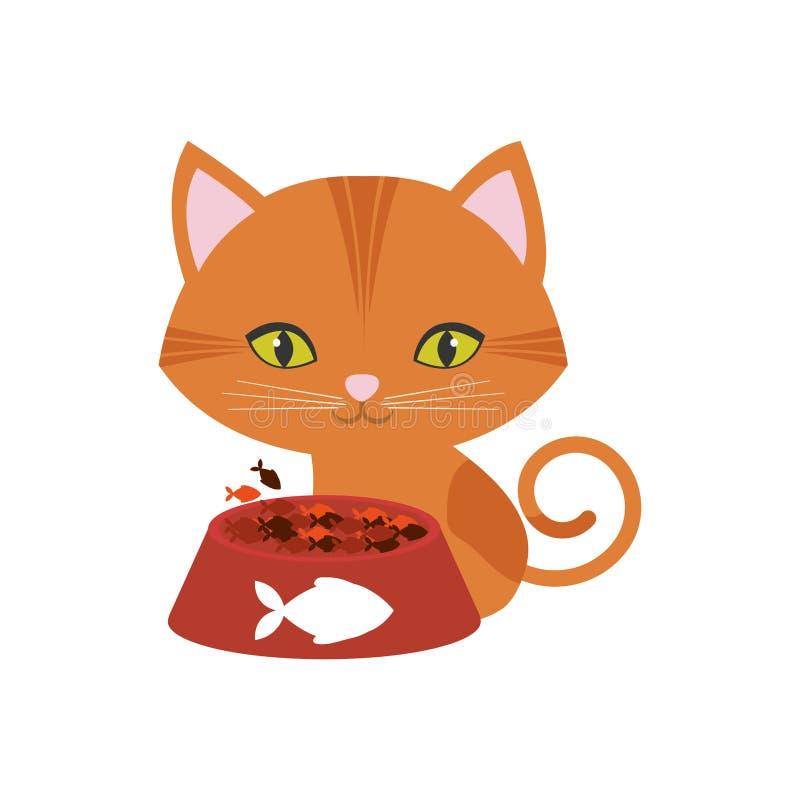 orange tryck för fisk för mat för platta för gröna ögon för katt stock illustrationer