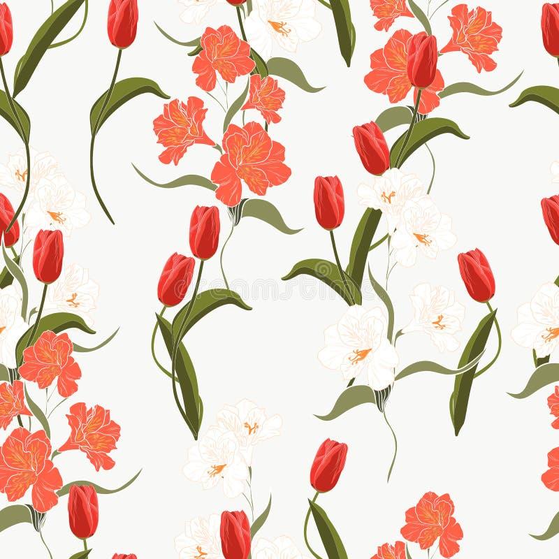 Orange tulpan för härlig blomma för sommar freshy moderiktig lös blommande och sömlös modell för alstroemeria royaltyfri illustrationer