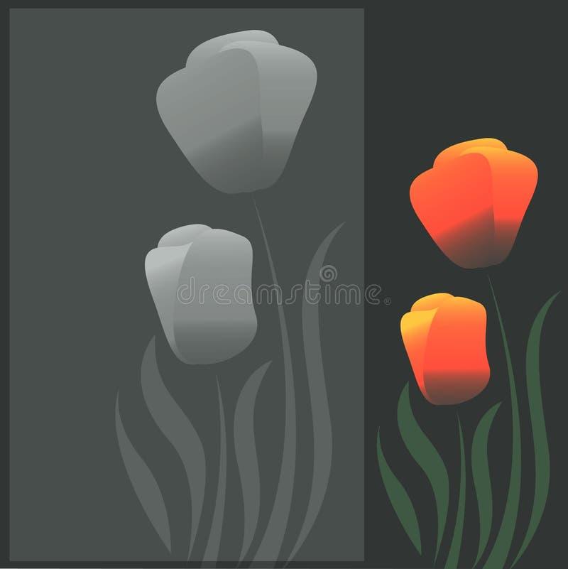 Orange Tulpen blühen Vektorkarte auf dunklem Hintergrund stock abbildung