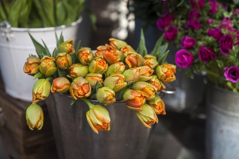 Orange Tulpen im Blumenstrau? als sch?nen Hintergrund stockfotografie