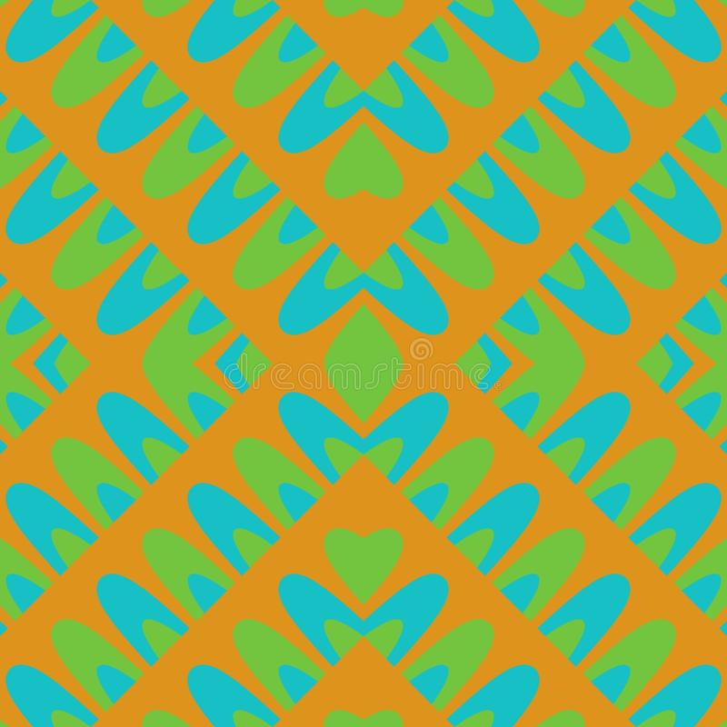 Orange turquoise green abstraction on square tile. Orange turquoise green decorative abstraction on square tile royalty free illustration