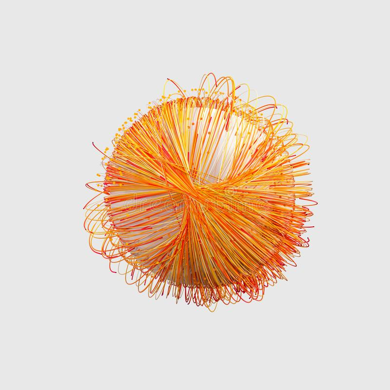 Orange twirl lines with white background, 3d rendering vector illustration