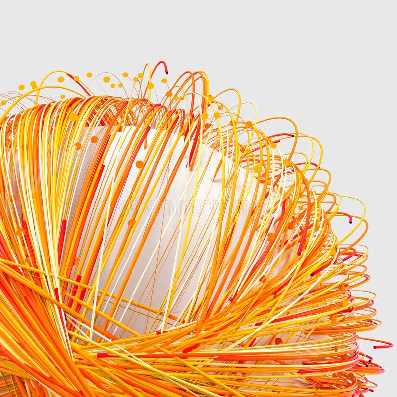 Orange twirl lines with white background, 3d rendering royalty free illustration