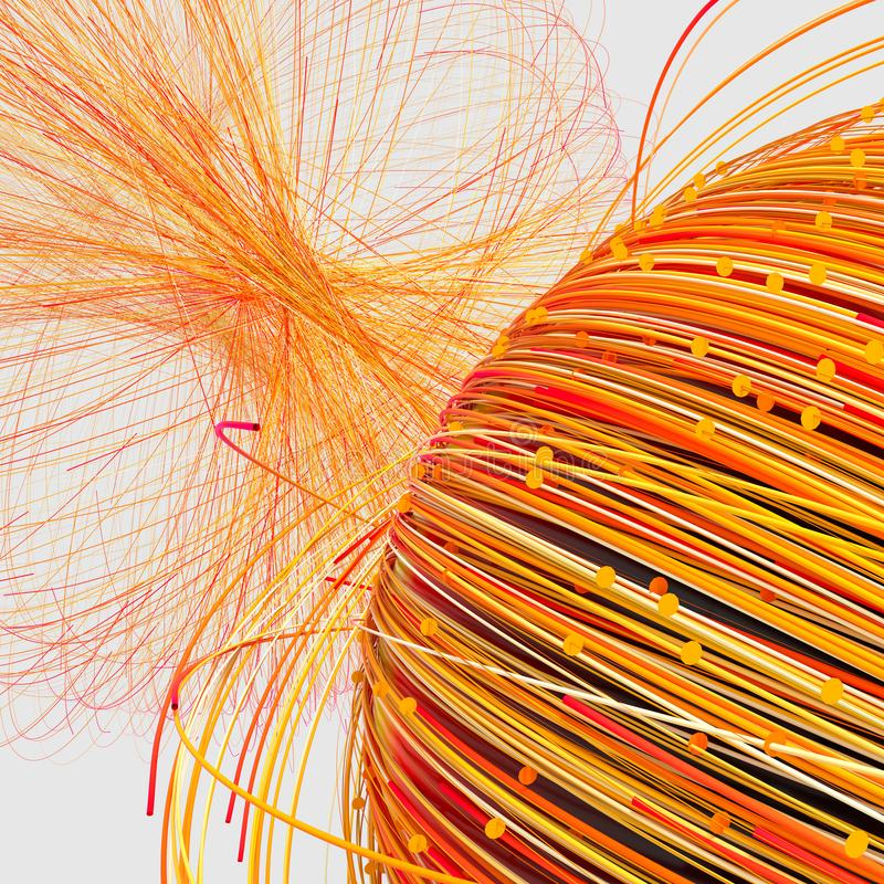 Orange twirl lines with white background, 3d rendering stock illustration