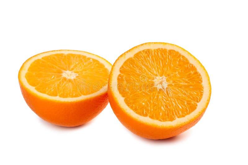Orange two pieces on white background. royalty free stock image