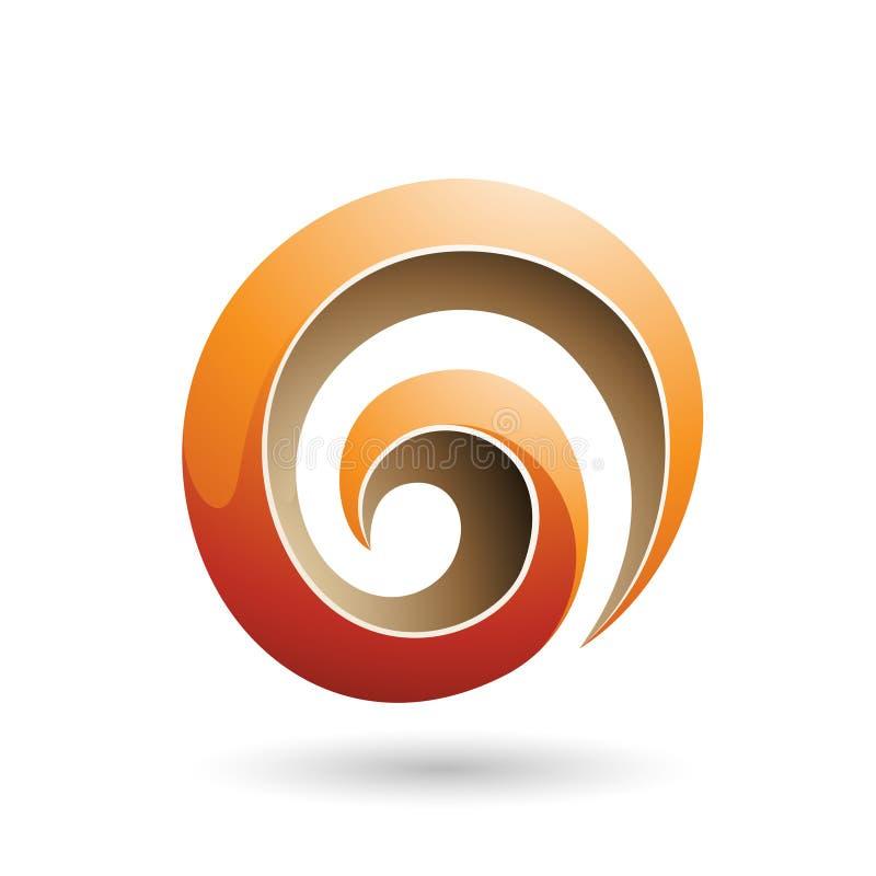 Orange und beige glatte Form-Vektor-Illustration des Strudel-3d vektor abbildung