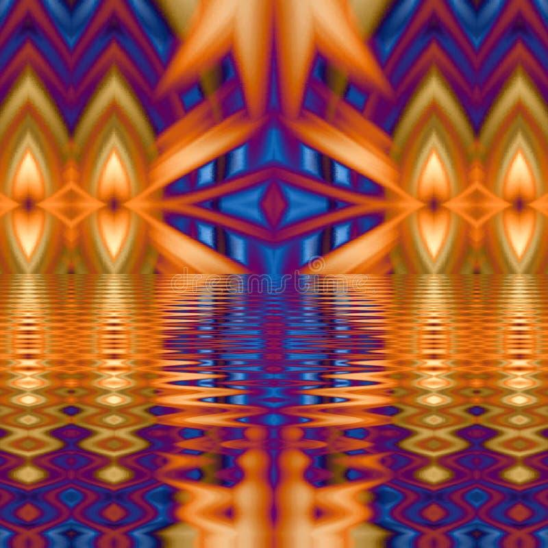 Orange und blaue Farben der digitalen abstrakten Kunst des Hintergrundes lizenzfreie abbildung