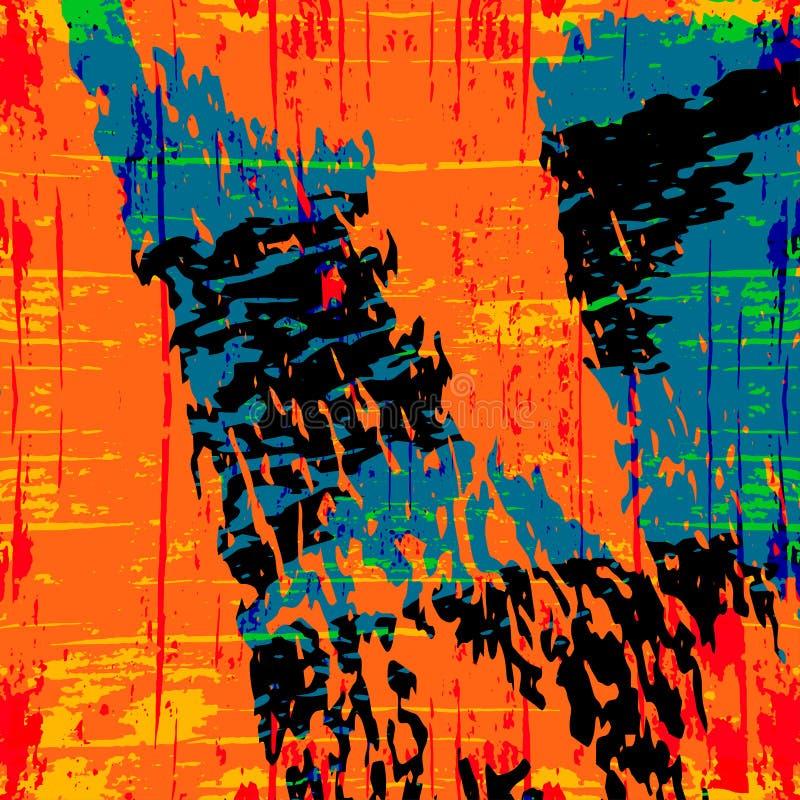 Orange und blaue schöne abstrakte Stellengraffiti-Musterillustration vektor abbildung