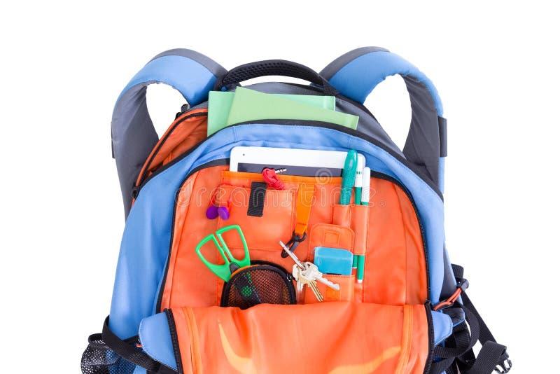 Orange und blauer Kinderschulrucksack lizenzfreie stockbilder