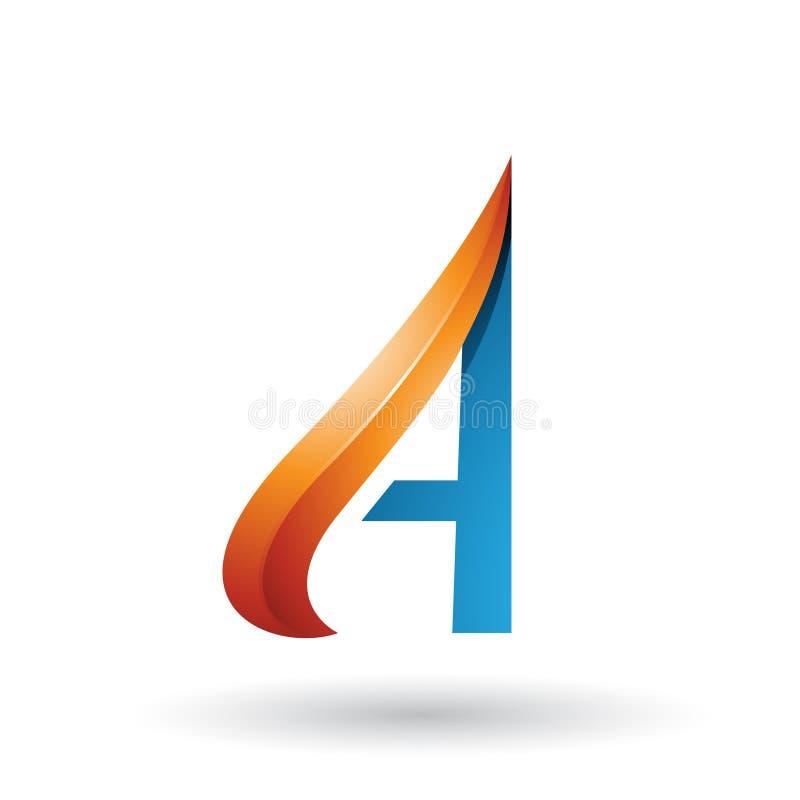 Orange und blauer prägeartiger Pfeil ähnlicher Buchstabe A lokalisiert auf einem weißen Hintergrund lizenzfreie abbildung
