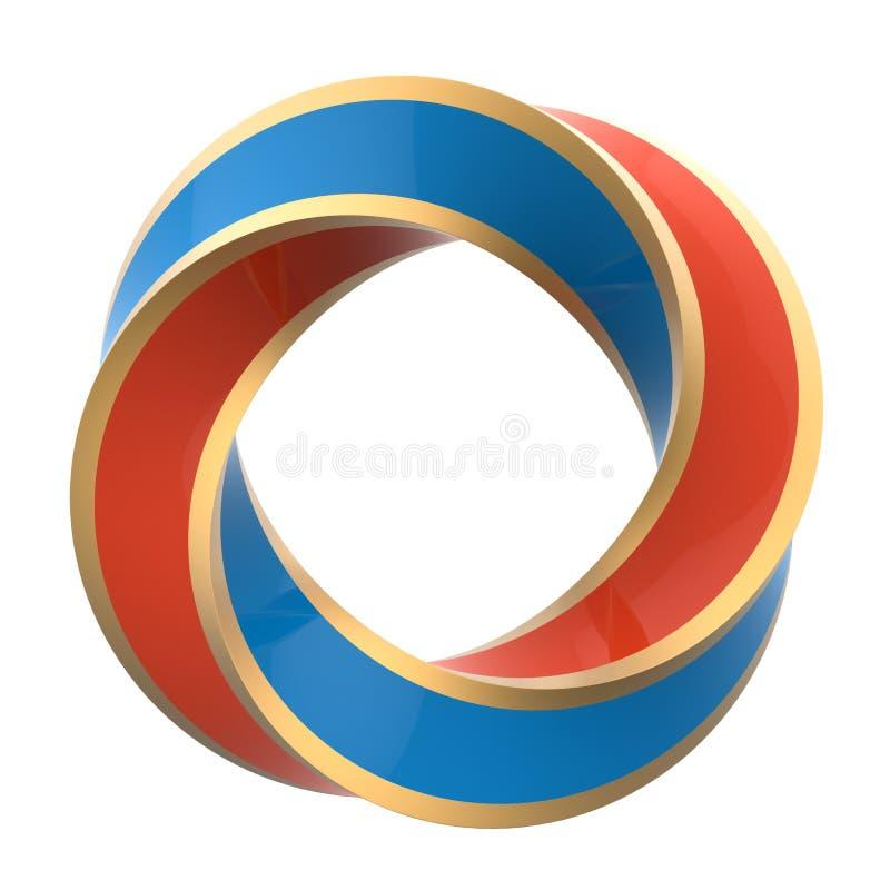 Orange und blauer verdrehter Ring der Farbe zwei lizenzfreie abbildung