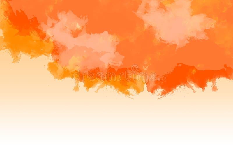 Orange und gelber Aquarellhintergrund stockbild