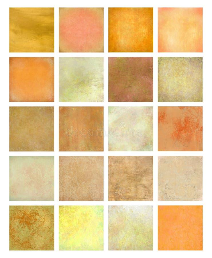 Orange und gelbes strukturiertes Hintergrund-Set lizenzfreies stockfoto